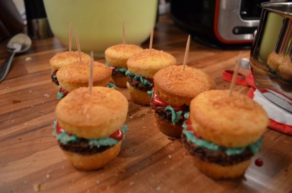 finished Hamburger Cupcakes